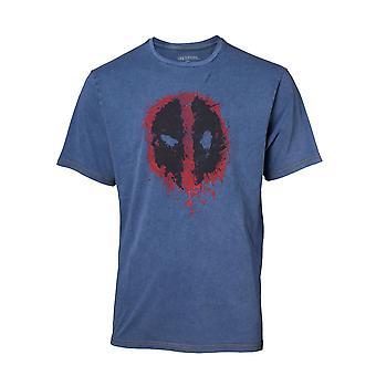 Deadpool كلاسيك نمط دليل القميص الجينز فو تي شيرت ميد الأزرق TS551101DEA-M