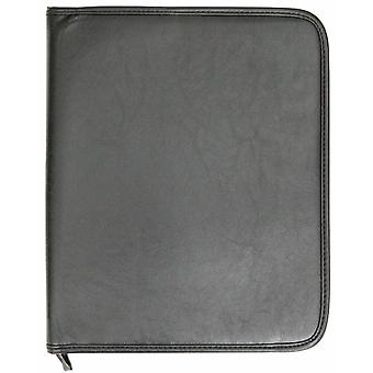 A4 Conference Folder Zipped Folio Case Pu Leather Business Car Manual Organiser