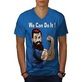 Wir können es tun, Männer Royal BlueV-Neck T-shirt   Wellcoda
