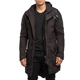 Men's Parka Winter Jacket lined Leather Details