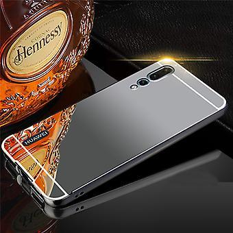 For Huawei P20 per mirror / mirror aluminium bumper 2 pieces with cover black Pocket case