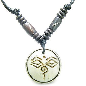 Amulet Tibetan Buddha All Seeing Eye Magic Lucky Charm Natural Carved White Bone Pendant Necklace