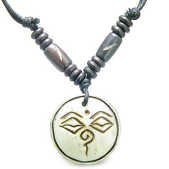 Tibetische Buddha Amulett All Seeing Eye magische Glücksbringer geschnitzten Naturweiß Knochen Anhänger Halskette