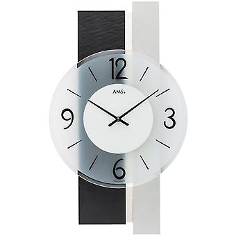 Modern wall clock quartz analog silver with slate and Minal glass 40 x 23 cm