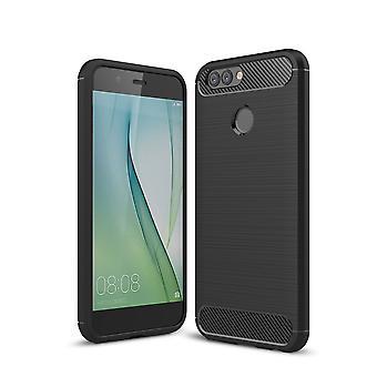 Huawei Nova 2 Plus TPU Case Carbon Fiber Optik Brushed Schutz Hülle Schwarz