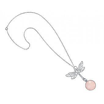 Necklace pendant - 925 Silver - Dragonfly - Rose Quartz - pink - 45 cm - necklace-