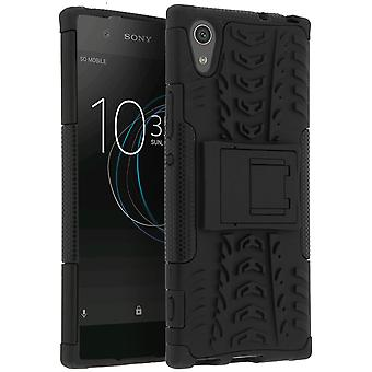 Shockproof Stand case, Backcover for Sony Xperia XA1 & Kickstand - Black