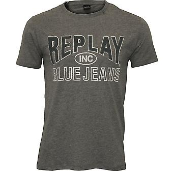 Replay Blue Jeans Logo T-Shirt, Grey Melange