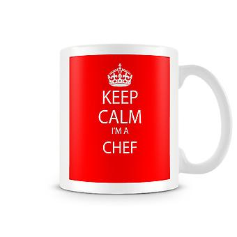 Houd kalm, ik ben een bedrukte mok van chef-kok