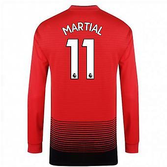 2018-2019 Man Utd Adidas Home Long Sleeve Shirt (Martial 11) - Kids