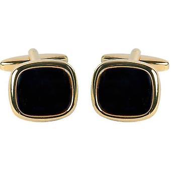 David Van Hagen Gold Plated Onyx Square Cufflinks - Black/Gold