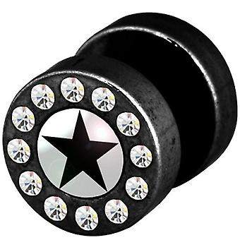 Fake Funky Cheater Ear Plug, Earring, Body Jewellery, Black Star with Stones