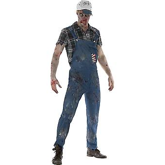 Zombie Hillbilly Costume, Male, Blue, with Dungarees, Attached Latex Ribs, Shirt & Baseball Cap