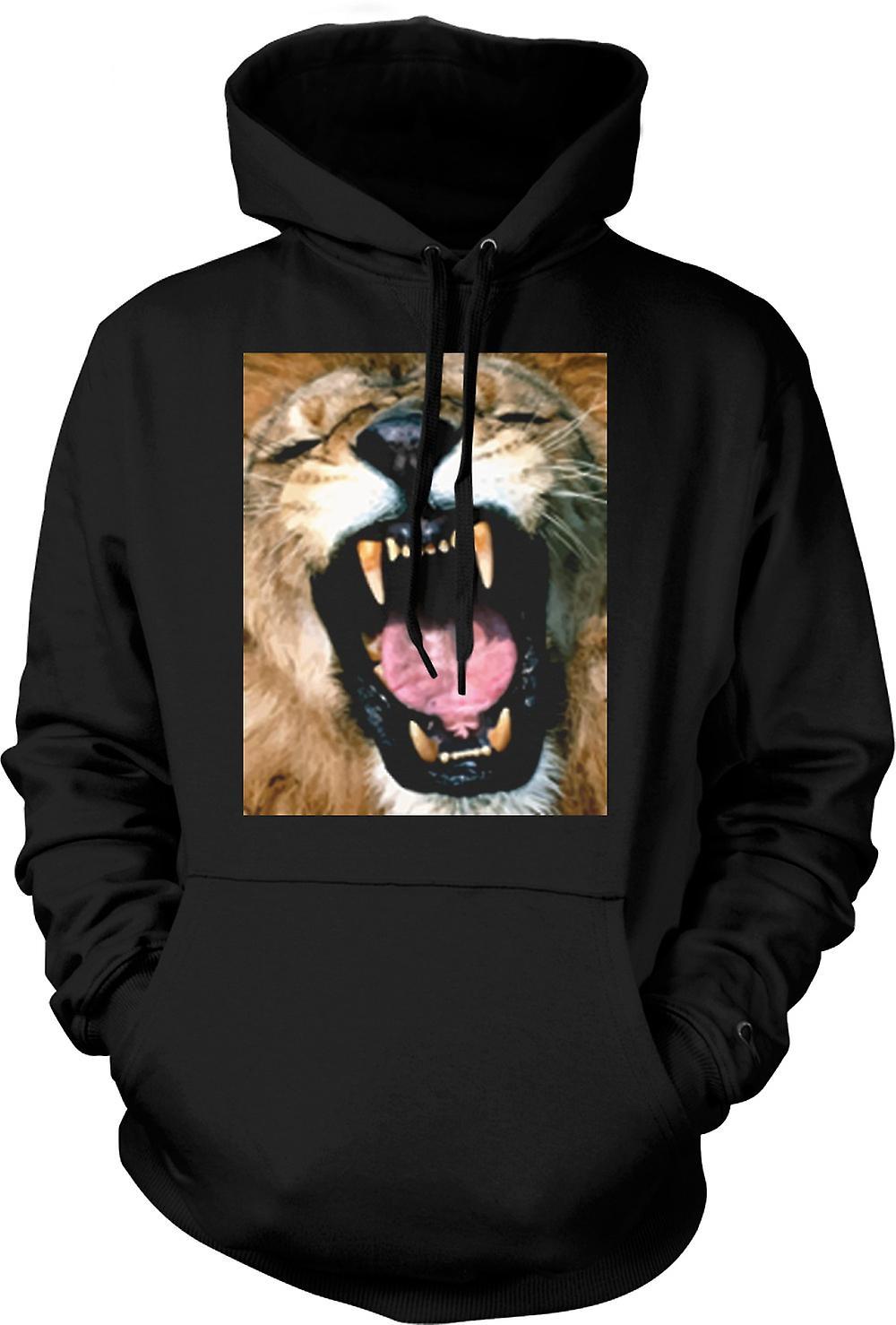 Felpa con cappuccio Mens - ritratto del leone di urlo