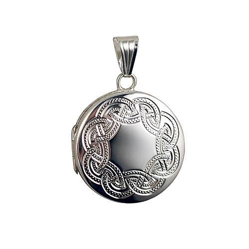 Silver 23mm round flat Celtic hand engraved Locket