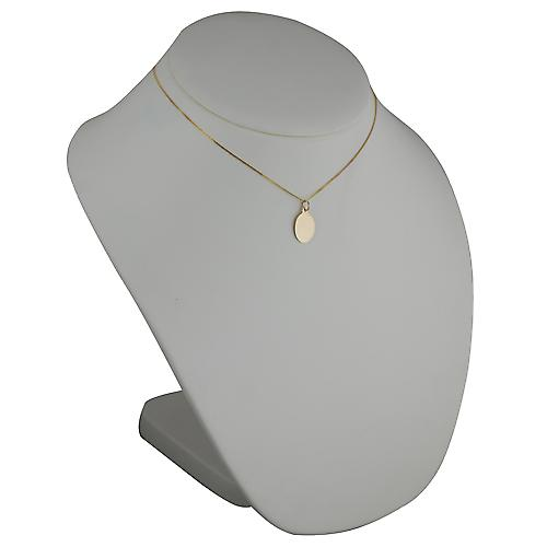 18ct Gold 16x11mm plain oval disc with Curb chain