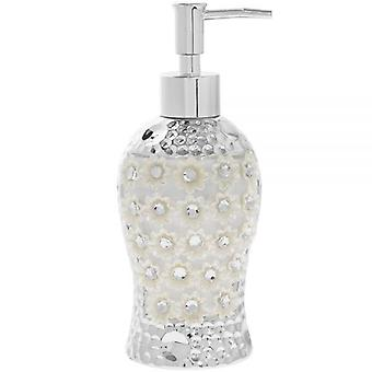 CERAMIC SILVER MILLE FLEURIE DIAMANTE SOAP DISPENSER BATHROOM DECORATION