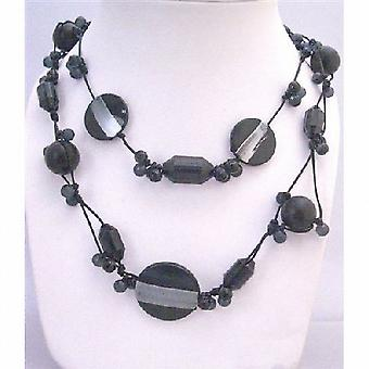 Long Necklace Double Stranded Black Multi Shaped Beads Long Necklace