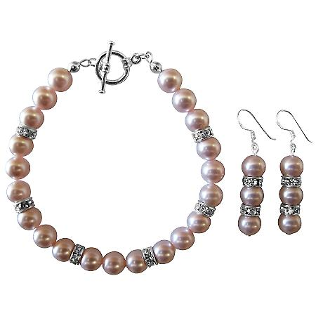 Wedding Bridal Swarovski Rosaline Pink Pearls Bracelet & Earrings