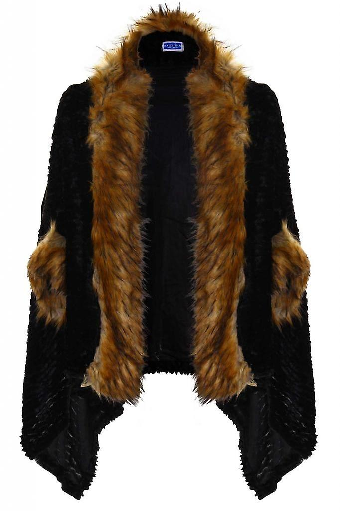 Womans Faux Fur Lined Batwing Sleeve Open Front Ladies Cape Shawl
