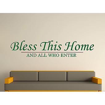 Bless This Home Wall Art Sticker - Racing Green