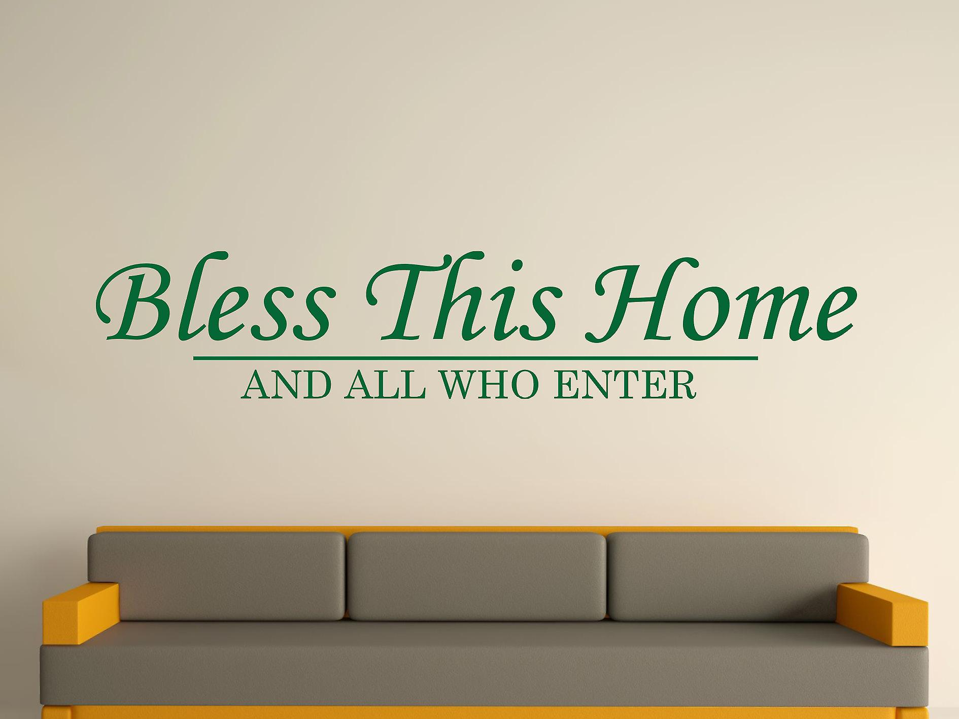 Bless This Home Wall Art Sticker - Racing Green