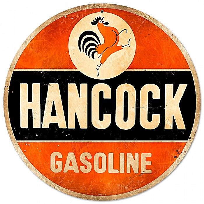 Hancock Gasoline round metal sign  (pst 14)