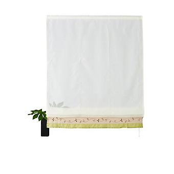 my home curtain transparent Roman shade with 2 color embroidered hood white