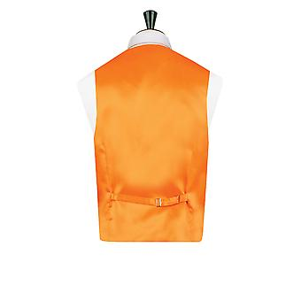 Dobell Mens Orange Waistcoat Regular Fit Dupion 5 Button