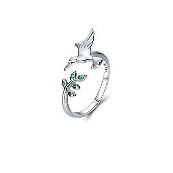 Ring adjustable woman bird Hummingbird adorned with green Swarovski Crystal and Silver 925