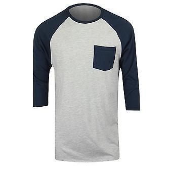 Quiksilver Mens Pocket 3/4 ärm Raglan tröja - Heather grå/marinblå