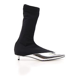 Givenchy sølv/sort læder støvler