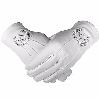 Masonic Cotton Gloves with Machine Embroidery Square Compass Silver