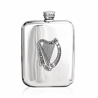Irish Harp Embossed Pewter Hip Flask 6Oz