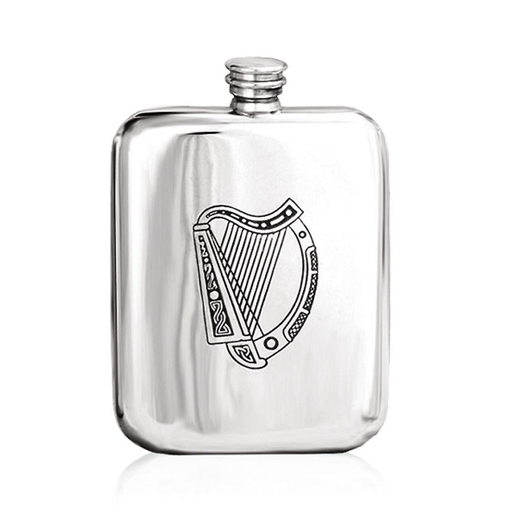 6oz Harp Stamped Flask Pewter - Ip302
