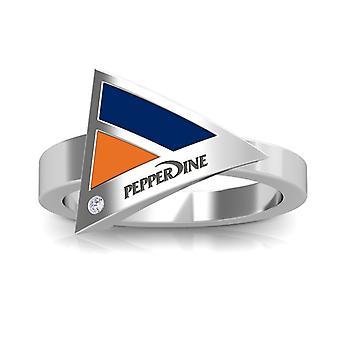 Pepperdine University Pepperdine Engraved Diamond Geometric Ring In Blue And Dark Orange