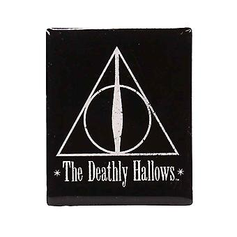 Harry Potter imã de geladeira Deathly Hallows logotipo emblema novo preto oficial