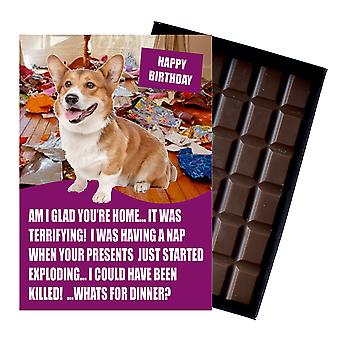 Gallois Corgi Funny Birthday Gifts For Dog Lover Boxed Chocolate Greeting Card Present