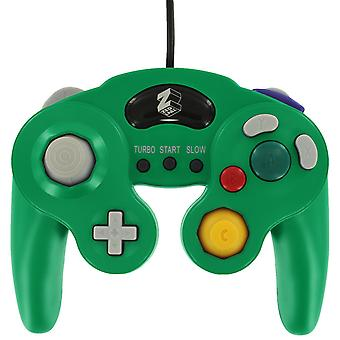 Wired controller for nintendo gamecube vibration gamepad with turbo function in luigi style green