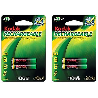 4x Kodak rechargeable AAA battery NiMH  1000 mAh batteries