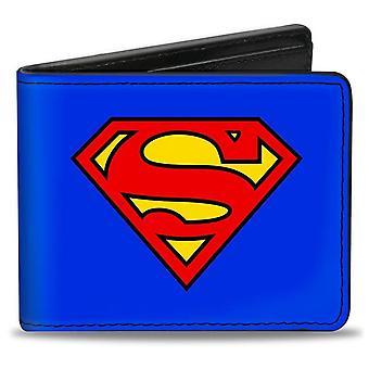 Superman Symbol on Blue Vegan Leather Bi-Fold Wallet