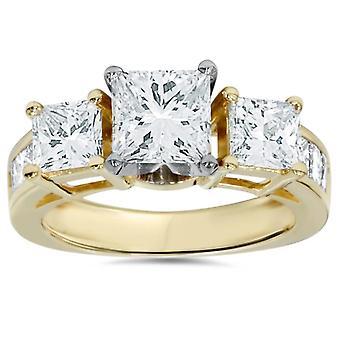 2CT Princess Cut diamant 3 en pierre bague de fiançailles 14K or jaune