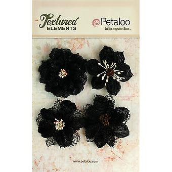 Textured Elements Burlap Blossoms 4 Pkg Black P1200 209