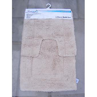 Premier Latte Cream 100% Cotton Bath and Pedestal Mat Set
