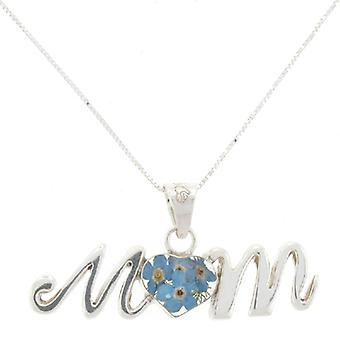 Shrieking Violet Sterling Silver Real Forget Me Not Flowers MUM Pendant