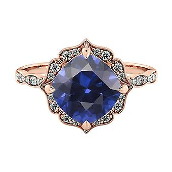 14K Rose Gold 3.25 ctw Blue Sapphire Ring with Diamonds Flower Leaves Halo