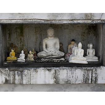 Niche at Ruwanwelisaya Dagoba filled with Buddha statues as offerings Anuradhapura North Central Province Sri Lanka Poster Print