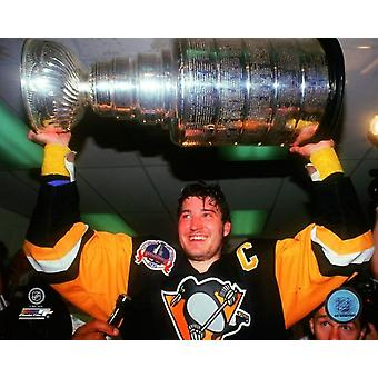 Mario Lemieux 1991 Stanley Cup Finals with Cup Photo Print