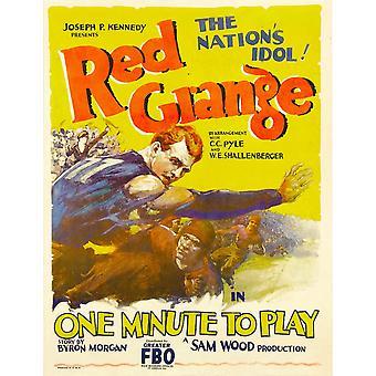 Ett minutt å spille venstre iført blå skjorte Harold Red Grange 1926 film plakat Masterprint