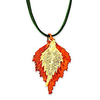 Iridescent Copper/24k Gold Dipped Double Birch Leaf Necklace - 20 Inch